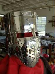 "Stainless Crusader Topfhelm with Stainless Cross (in stock for small head 22"")"